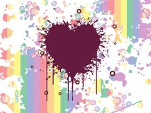 Grungy heart with colorful artwork background Stock Photography