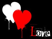 Grungy heart with love text Royalty Free Stock Photo