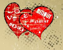 Grungy hearts Stock Image