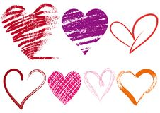 Grungy hearts, vector. Set of scribble hearts with grungy texture Royalty Free Stock Photo