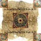Grungy Hintergrund des Astrologie-Tierkreises (heller) - Stockbilder