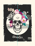 Grungy human skull with rose wreath, ribbon with word Breathe and geometric shapes  Royalty Free Stock Photography