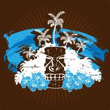 Grungy illustratie met tikistandbeeld in koele tonen Stock Afbeeldingen
