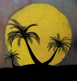 Grungy illustration on island palm tree concept Stock Photos