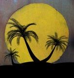 Grungy illustration on island palm tree concept Stock Photos