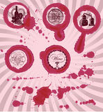 Grungy imprints with splashes of wine glasses. Of wine Stock Photo