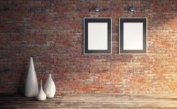 Grungy inre med affischmallen för två vit för presentation stock illustrationer