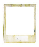Grungy instant picture frame. Battered instant  photo with paint splatters and blank tag, free copy and picture space Royalty Free Stock Image