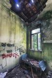 Grungy interior of abandoned house stock photo
