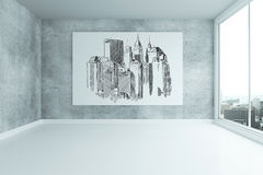 Grungy interior with city sketch Stock Images