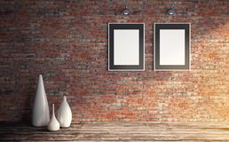 Grungy interior with two white poster template for presentation. stock illustration
