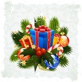 Grungy julhälsningskort Royaltyfria Foton