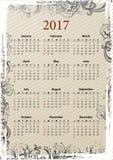 Grungy Kalender 2017 des amerikanischen Vektors Lizenzfreies Stockbild