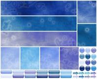 Grungy koele azuurblauwe violette elementen van het Webmalplaatje Royalty-vrije Stock Afbeeldingen