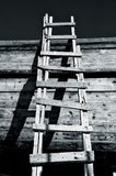 Grungy Ladder & Shadows. Old Wooden Ladder On Wooden Wall Royalty Free Stock Photography
