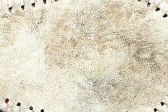 Grungy leertextuur van een gebruikt honkbal stock afbeelding