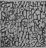 Grungy Letters en Getallen Grey Background royalty-vrije stock afbeeldingen