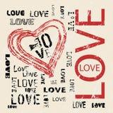 Grungy liefde en hartvector Stock Foto's
