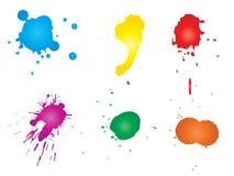 Grungy målarfärgdroppe, hand - gjorde idérik färgstänk royaltyfri illustrationer