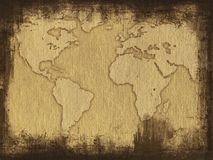 Grungy map. Grungy picture of world map stock images