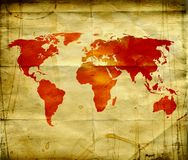 grungy mapa świata Obraz Royalty Free