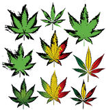 Grungy marijuana ganja cannabis leaf stamps Stock Photo