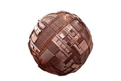 Hovering science fiction style tech sphere 3d illustration, isolated on white background. Grungy metal sphere with detailed tech surface isolated on white Stock Photography