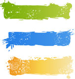 Grungy multicolored banner set. Three grungy multicolored banner set Royalty Free Stock Photos