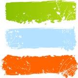 Grungy multicolored banners met florals stock illustratie