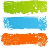 Grungy multicolored banners met florals vector illustratie