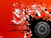 Grungy music. Loudspeaker on abstract grunge background Royalty Free Stock Images