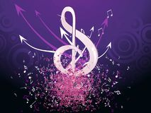 Grungy musical notes on purple background Stock Photography