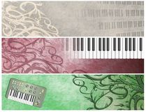 Grungy Musical Retro Keyboards  Headers Stock Photography
