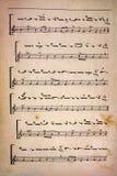 Grungy musikaliskt ark för tappning Royaltyfria Foton