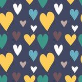 Grungy naadloos vectorhartpatroon Royalty-vrije Stock Fotografie