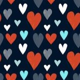 Grungy naadloos vectorhartpatroon stock illustratie