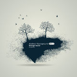 Grungy naturalny tło Sylwetki drzewa i ptaki Zdjęcia Stock