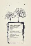 Grungy naturlig bakgrund Konturer av träd och fåglar Royaltyfri Bild
