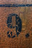 Grungy number 9. On an old church pew (more numbers are coming Stock Photography