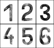 Grungy Numbers 1-6. Old rusty numbers (1-6) in greyscale with clipping path, grainy surface, XL size Royalty Free Stock Images