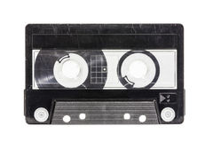 Grungy Old Blank Cassette Tape with Clipping Path Royalty Free Stock Photos