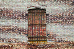 Grungy Old Bricked Up Window With Rusty Bars Royalty Free Stock Photos