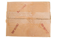 Grungy Old Cardboard Box TOP SECRET Peeling Tape Royalty Free Stock Images