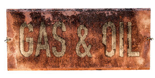 Grungy Old Gas And Oil Sign Royalty Free Stock Photo