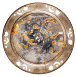 Grungy old metal table coaster Stock Photos