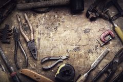 Grungy old tools stock photography