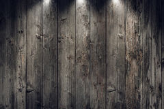 Grungy old wooden panels wall with spotlights Stock Images