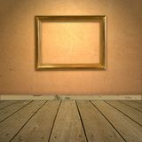 Grungy orange wall with frame stock photos
