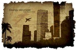 Grungy, oud document met een grote stad en windmolens royalty-vrije illustratie