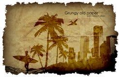 Grungy, oud document met een grote stad en windmolens stock illustratie
